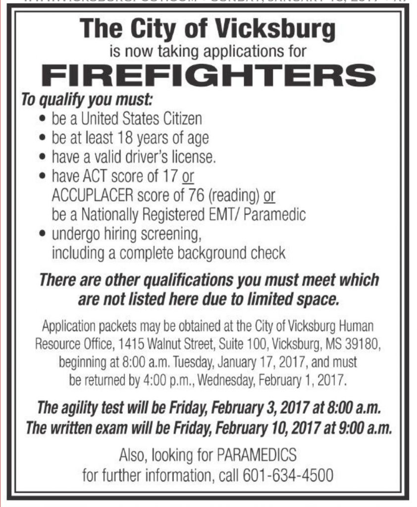 Vicksburg fire department accepting applications for firefighter 1betcityfo Choice Image
