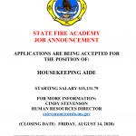Job Vacancy – Housekeeping Aide