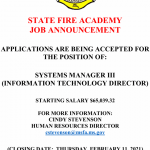 Job Vacancy – Systems Manager III Information Technology Director